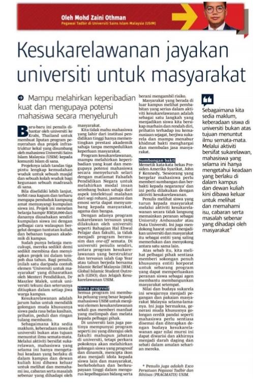 Berita Harian_Kesukarelawanan jayakan universiti untuk ...